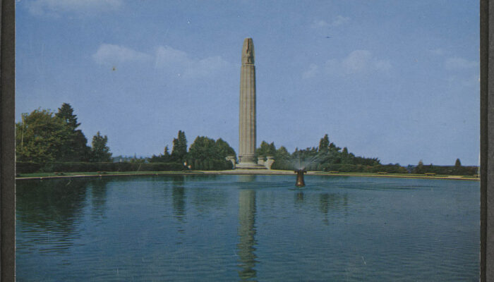 Postcard of World War Memorial, Walnut Hill Park