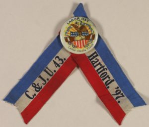 Labor Day 1897 Carpenters and Joiners Union # 43 Ribbon and Button