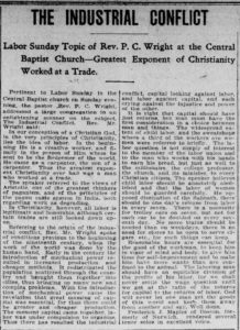 Newspaper clipping Norwich Bulletin Sermon