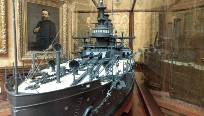 Model of the USS Connecticut used as a troop transporter during World War 1
